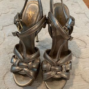 YSL Tribute Sandals Silver